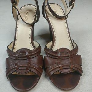 "Coach Women's ""Golden"" Veg Leather ankle strap 4"""